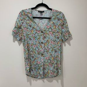 Something Navy Floral Top Size XS
